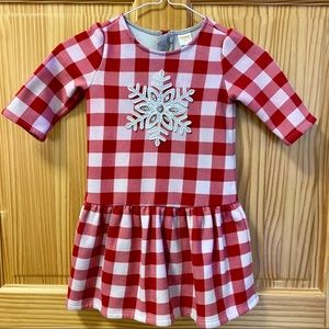 Gymboree red white fleece lined snowflake dress LS